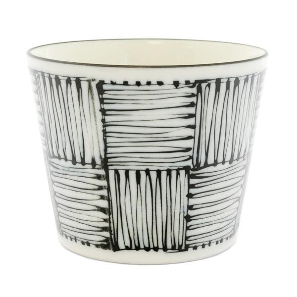 13123 ceramic dipping sauce dish white black scribble pattern