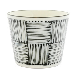 13123 ceramic dipping sauce dish white black scribble pattern