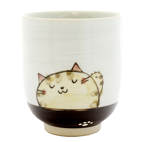 13133 ceramic teacup red cat pattern