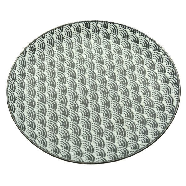 13144 ceramic serving plate white black wave pattern