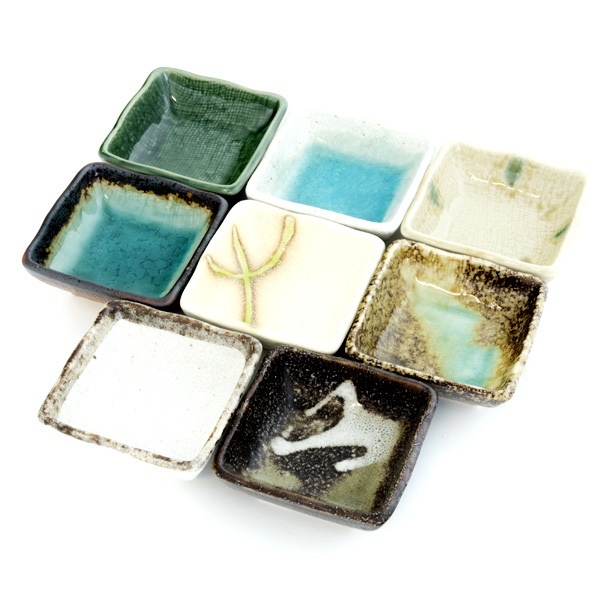 13160 ceramic square side dish plates multicolour traditional japanese patterns