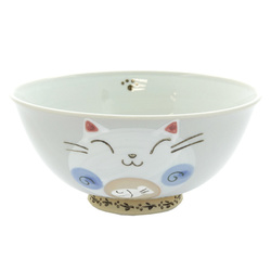 13113 ceramic cat rice bowl blue cat pattern