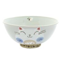 Ceramic Cat Rice Bowl - Blue, Cat Pattern
