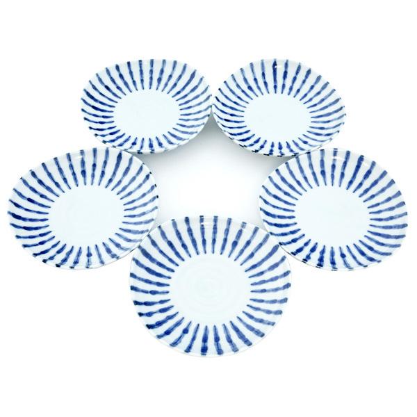 13079 ceramic serving plate set white blue stripe pattern