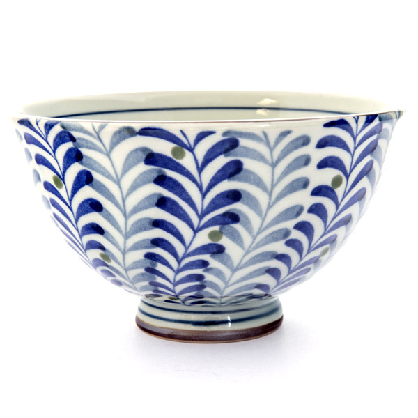 13084 ceramic rice bowl blue foliage pattern