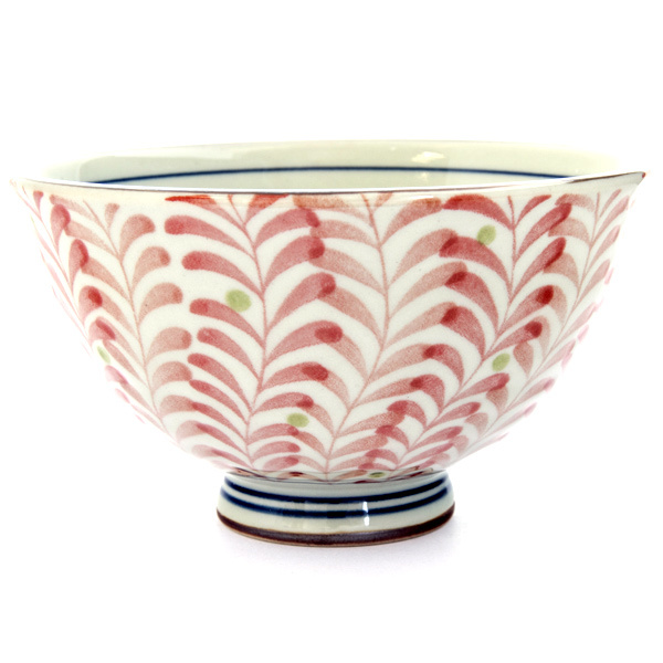 13083 ceramic rice bowl red foliage pattern