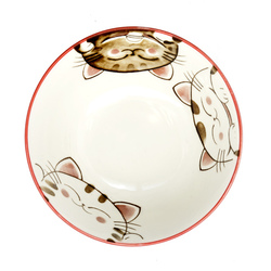 13215 ceramic rice bowl pink cat pattern inside