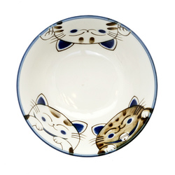 13216 ceramic rice bowl blue cat pattern inside