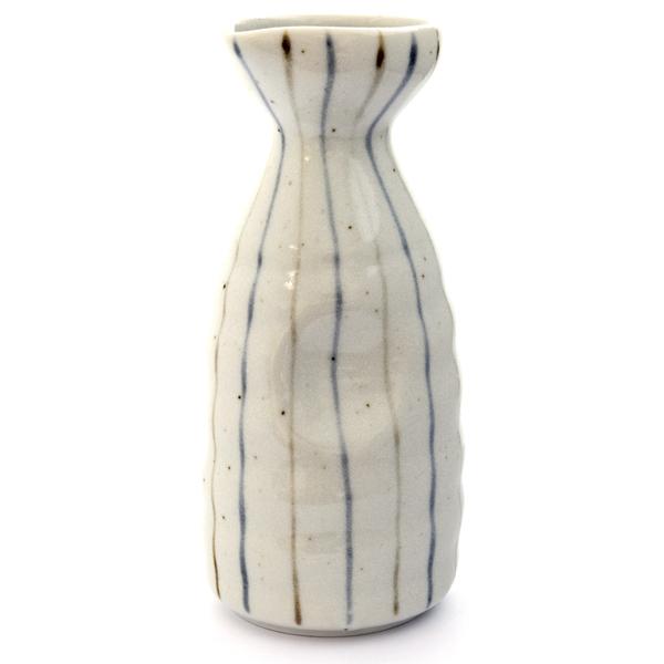 13247 ceramic sake server   white  blue and brown stripe pattern