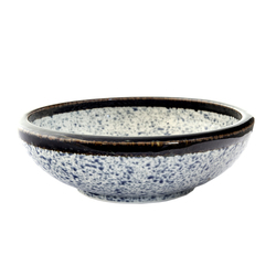 13218 ceramic serving bowl   blue wave pattern with dark brown rim