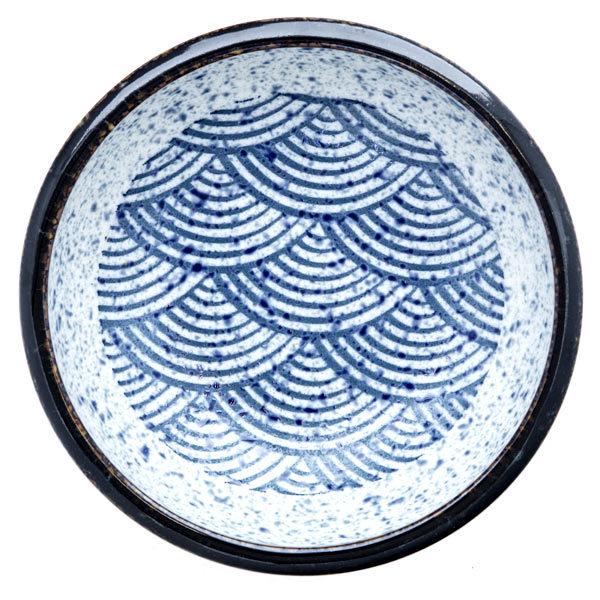 13218 ceramic serving bowl   blue wave pattern with dark brown rim 2