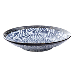 13225 ceramic pasta plate   blue wave pattern with dark brown rim
