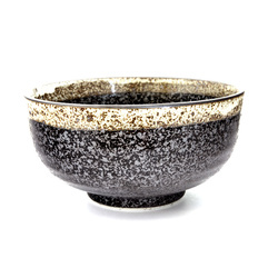 13174 ceramic medium rice bowl black mottled pattern
