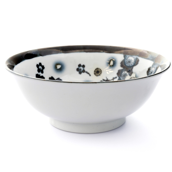 13270 ceramic noodle bowl   black and white  cherry blossom pattern