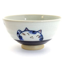 13099 ceramic rice bowl blue cat pattern