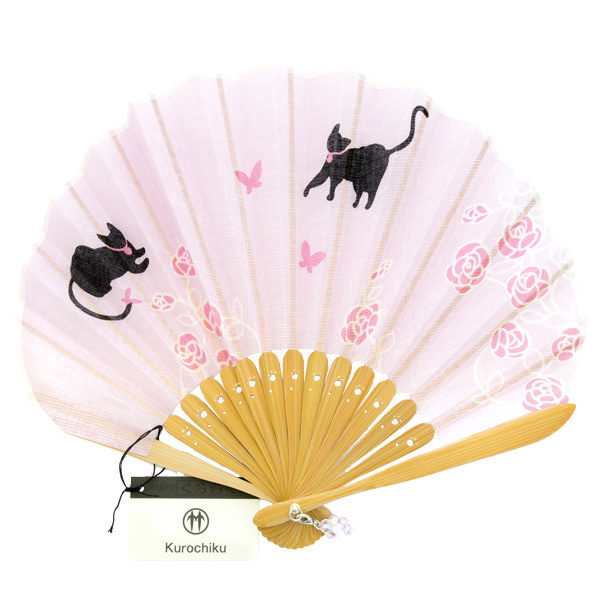 13543 fan pink  roses  cat  unfurled
