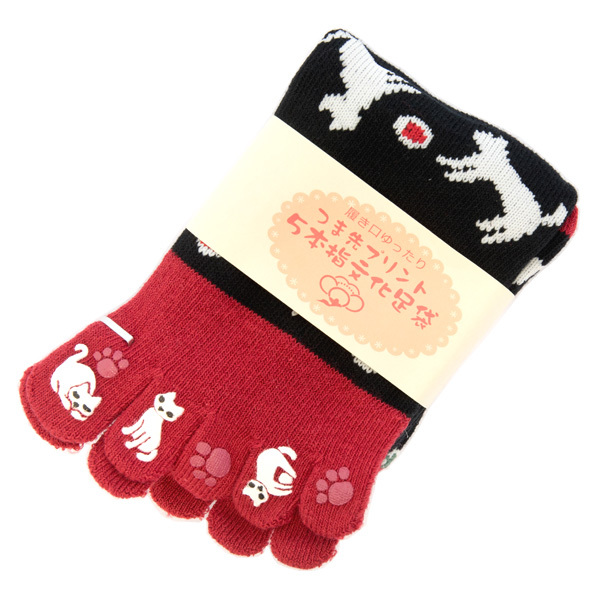 13538 japanese toe socks   cat pattern