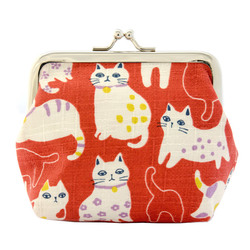 13555 cat coin purse   red  blase cats