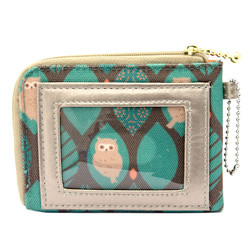 13560 wallet and travel card holder   green  owl pattern