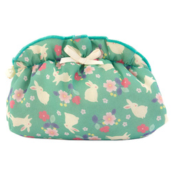 13562 chiffon pouch  green  rabbits and flowers