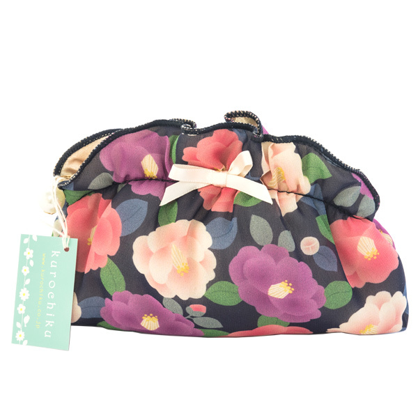 13563 chiffon pouch   purple  floral pattern