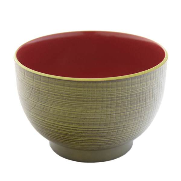 13568 miso soup bowl   green and red  wood effect