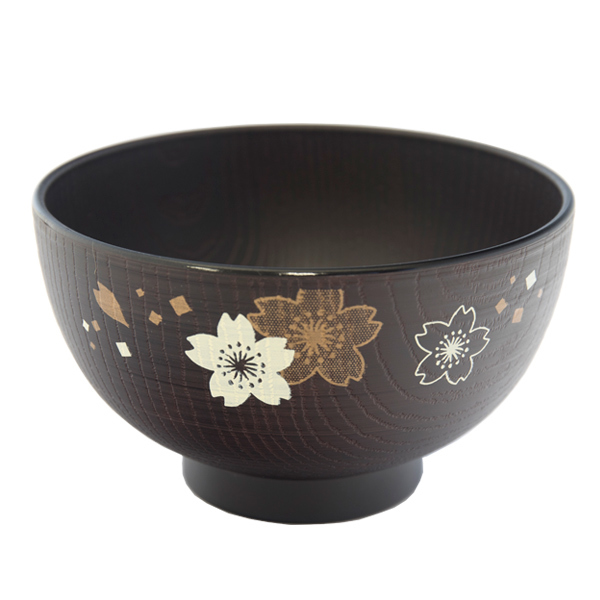 13569 miso soup bowl   black  cherry blossom pattern