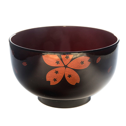13570 miso soup bowl   black and red  cherry blossom
