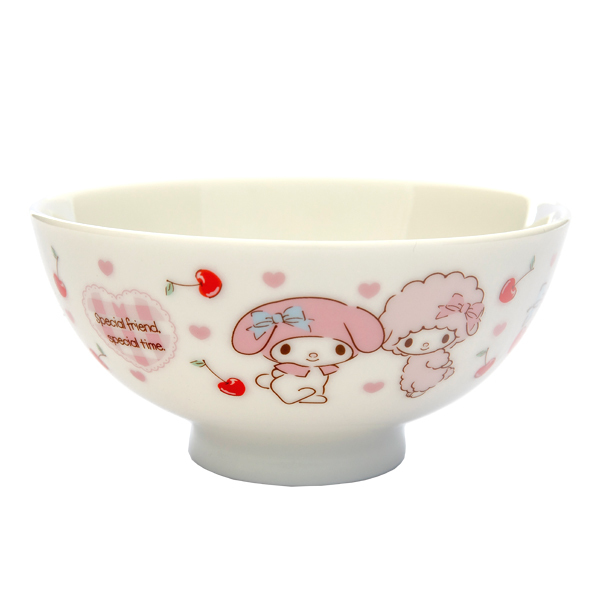 13625 sanrio my melody ceramic rice bowl   berry pattern