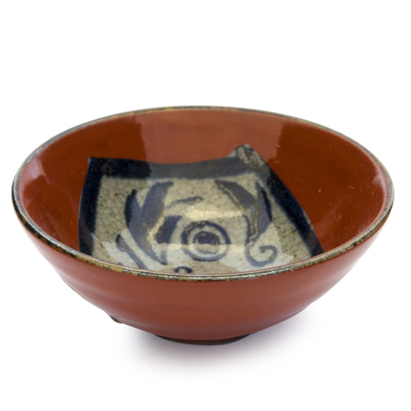 13645 ceramic sauce dish   red  daruma design