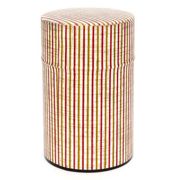 13651 tea canister   red  white and gold
