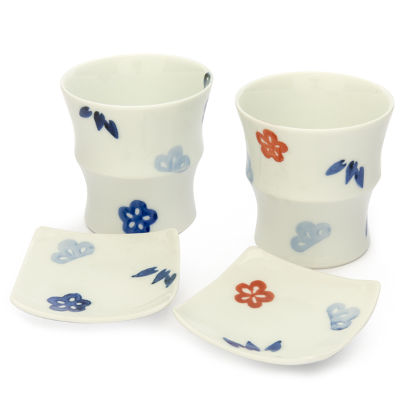 13662 ceramic cup and saucer set for two   pine  bamboo and plum blossom