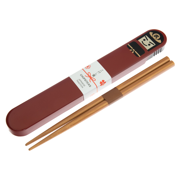 13829 bento chopsticks with case   red  samurai