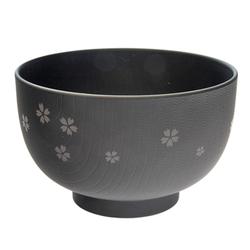 13862 miso soup bowl black  cherry blossom