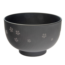 13862 miso soup bowl black  cherry blossom