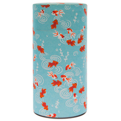 13869 tea canister   blue  goldfish