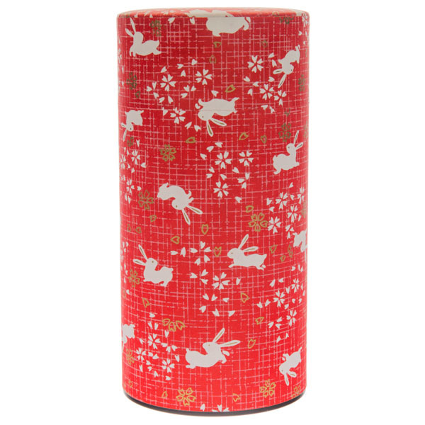 13870 tea canister   red  rabbit and cherry blossom