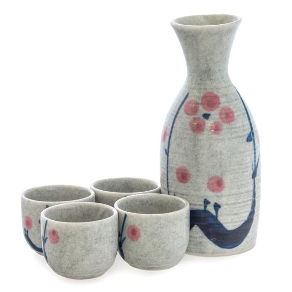 13943 ceramic sake set   white  blue  pink  floral