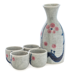 13943 ceramic sake set   white  blue  pink  floral