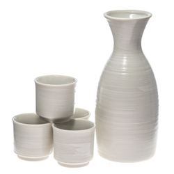 13946 ceramic sake set   white