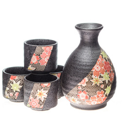 13957 ceramic sake set   mottled grey  pink and green floral pattern