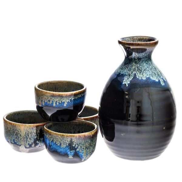 13960 ceramic sake set  black  blue  gold  drip pattern