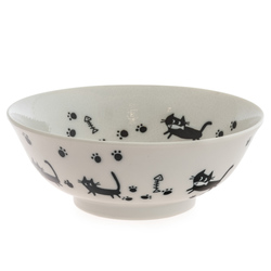 13969 ceramic noodle bowl   white  cat pattern