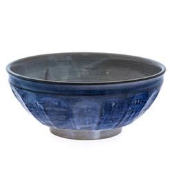 13977 ceramic noodle bowl   blue and grey