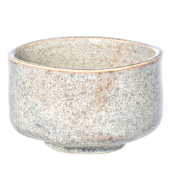 13988 ceramic matcha bowl   light blue and beige  speckled pattern
