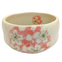 14005 ceramic matcha bowl   sakura cherry blossom  cream