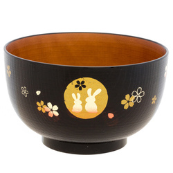 14007 medium rice bowl   black and brown  rabbit  moon and sakura