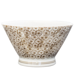 14011 ceramic tall rice bowl   white and beige  floral pattern