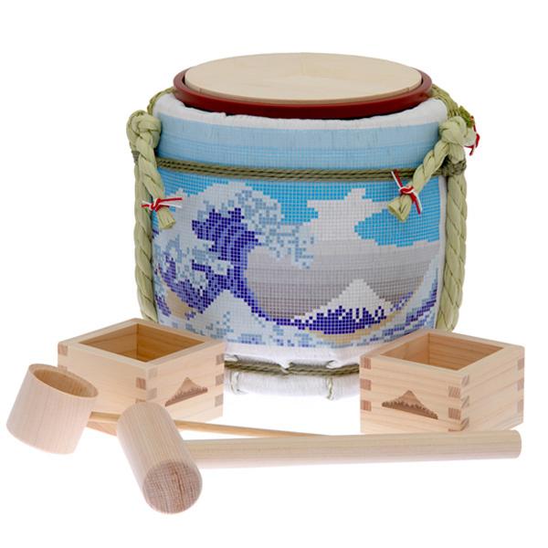 13959 designer's mini kagami biraki sake barrel set   great wave kanagawa