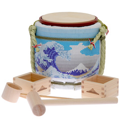 13959 designer's mini kagami biraki sake barrel set   great wave kanagawa